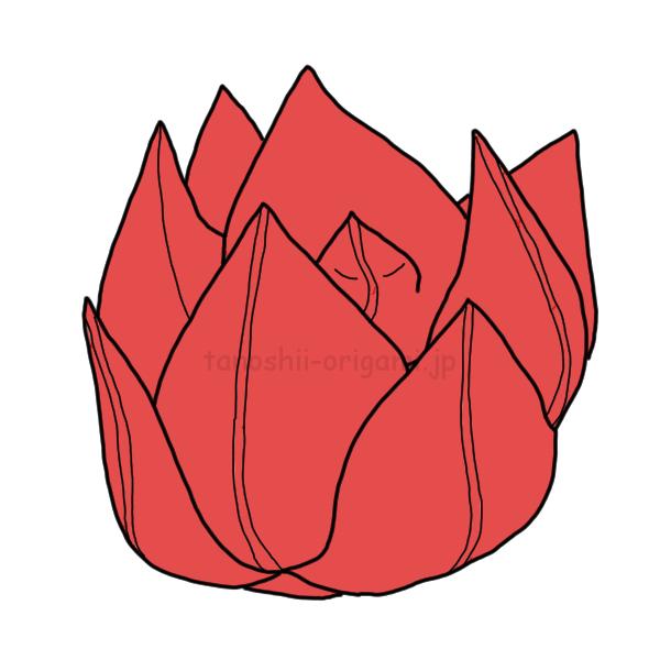 折り紙の蓮(はす)完成