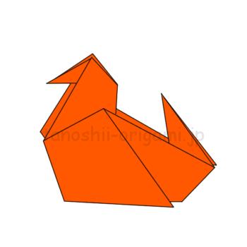 折り紙の鴨(かも)完成