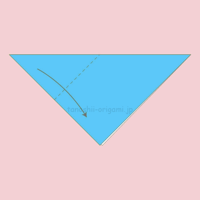 1.三角に折り、角と角を合わせるように斜めに折る