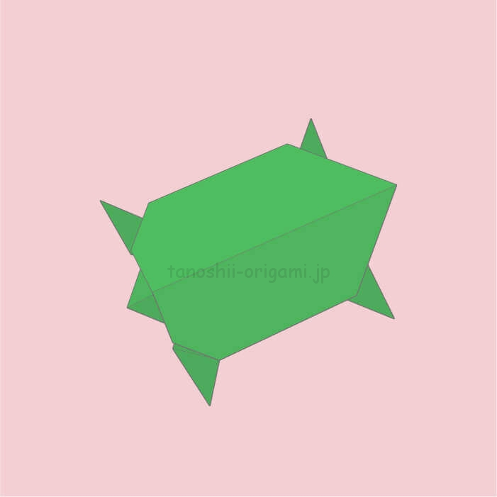 11_折り紙の亀(かめ)の完成