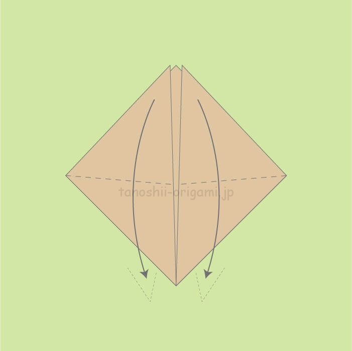 1_下に向けて少し斜めに折る。