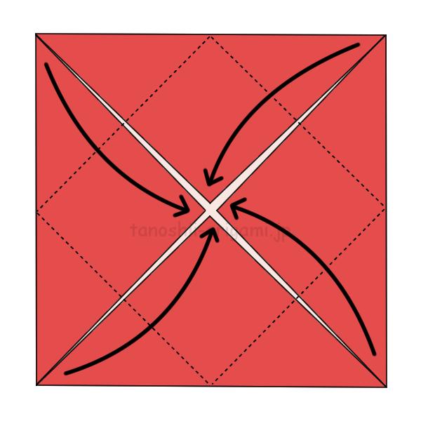 4つの角を内側に折る(ざぶとん折り)。もう一度角を内側に折る。