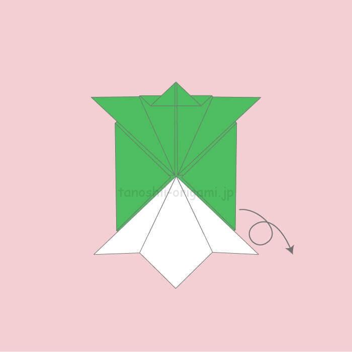 9_亀の折り紙を裏返す