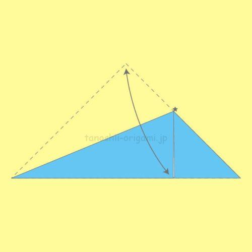 1.折り紙を三角に折り、星マークのところで半分に折る