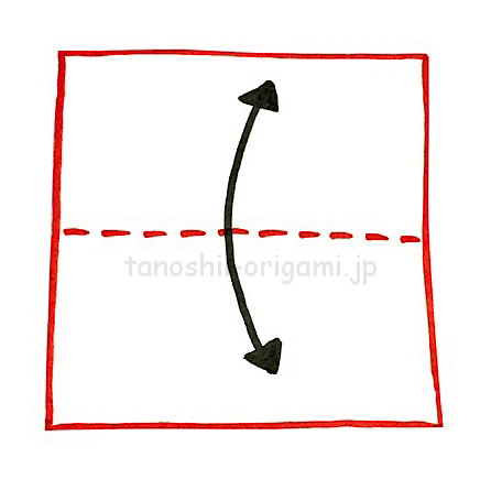 1.折り紙を半分に折る