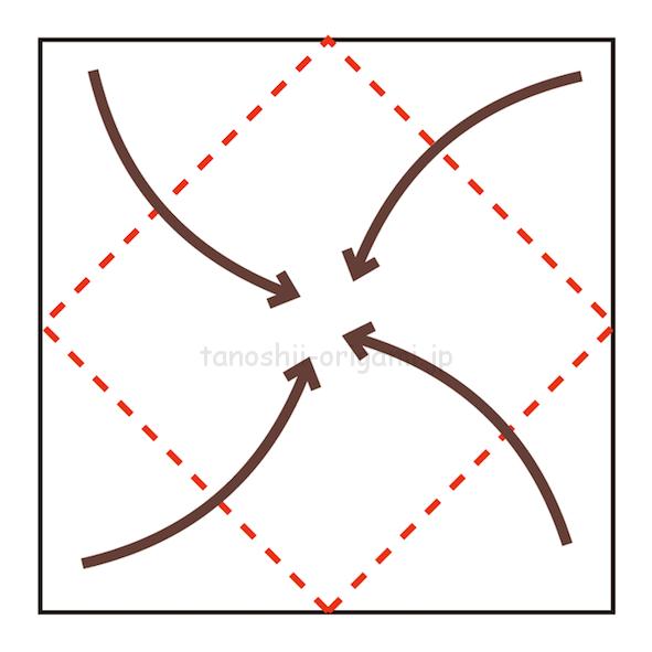 1.4つの角を真ん中に合わせて折る-2