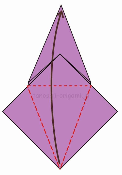 11.反対側も折り線をつけ、上に開いて折る-2