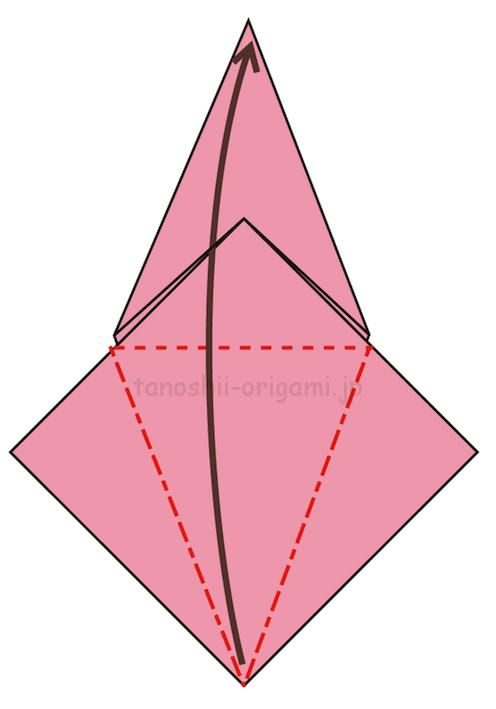 11.反対側も折り線をつけ、上に開いて折る