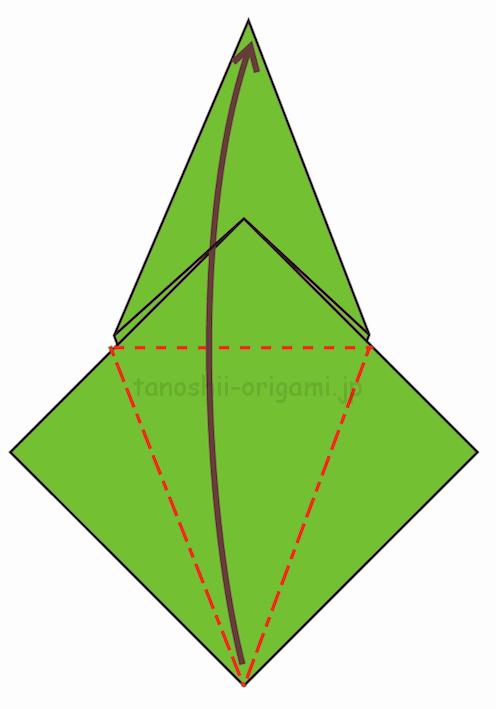 11.反対側も折り線をつけ、上に開いて折る-3