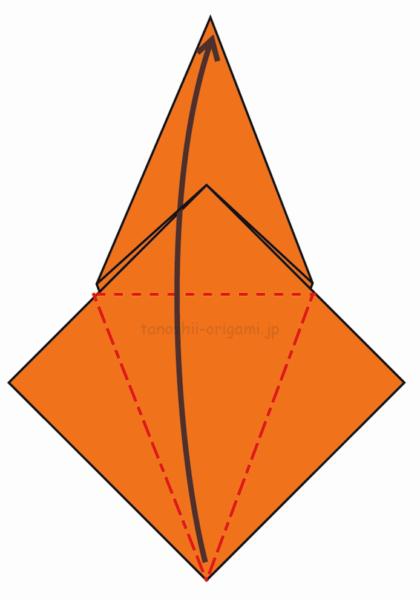 11.反対側も折り線をつけ、上に開いて折る-5