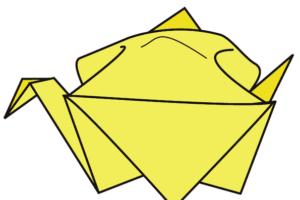 13.折り紙のふくらすずめの完成!