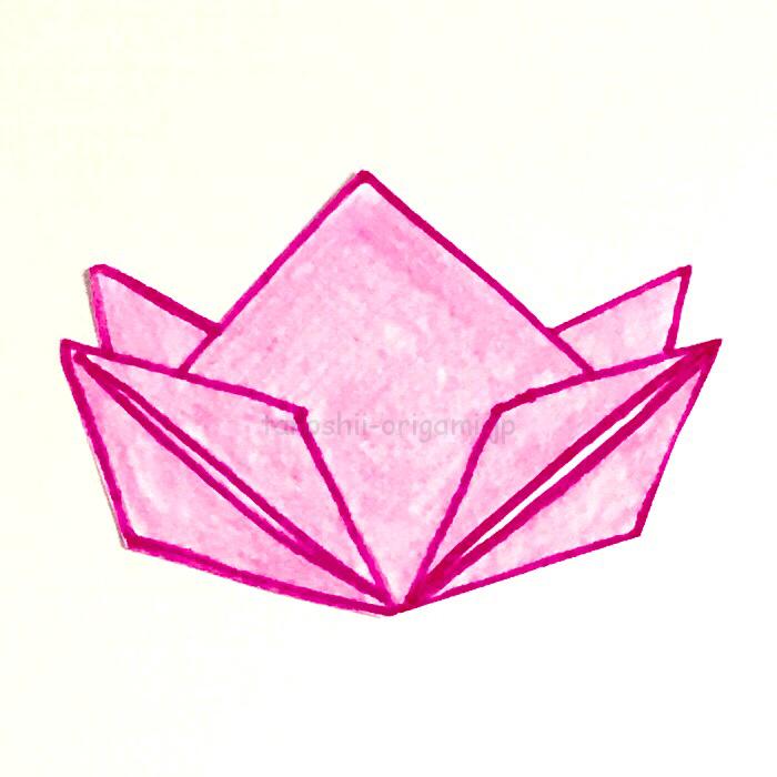 14.折り紙の桃の完成