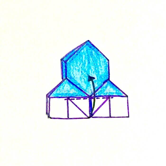 15.白い三角の部分を上に向けて折る