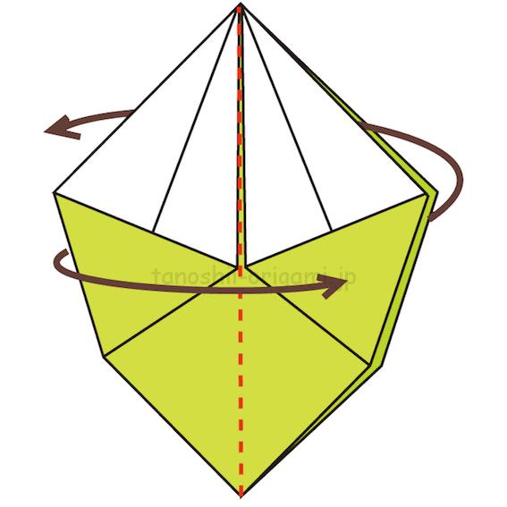 15.真ん中で折り開いていない面を表に出す-3-2