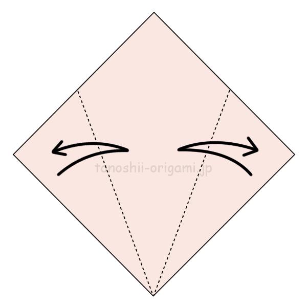 2.両側を折って折り線をつける