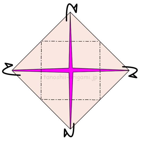 2.反対側に折る。