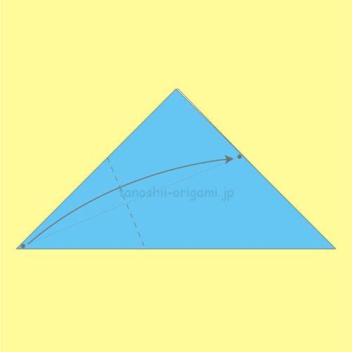 2.点マークのところが重なるように折る