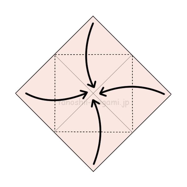2.角を真ん中に合わせて折る