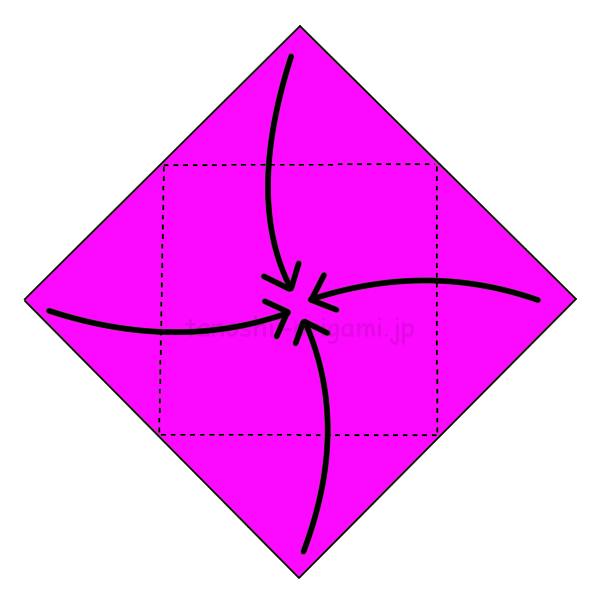 2.4つの角を真ん中に向けて折る-2