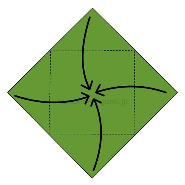 2.4つの角を真ん中に向けて折る