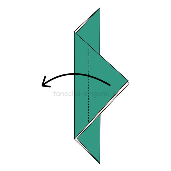 3.また反対側に向けて2-3くらいを折り返す