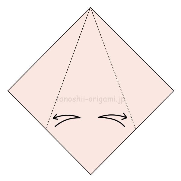 3.反対側も両側に折り線をつける