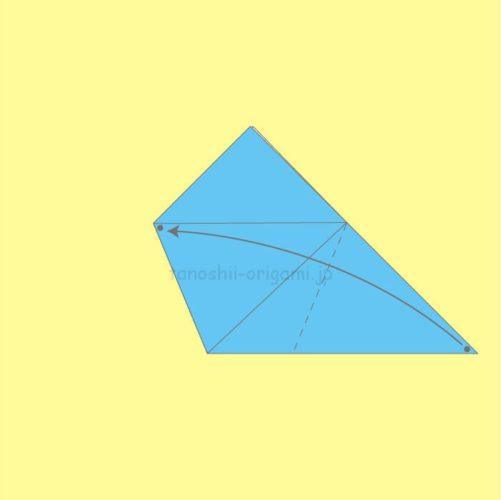 3.反対側も点マークが重なるように折る