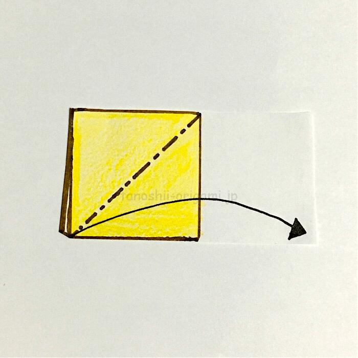 3.開いて三角形になるように折る