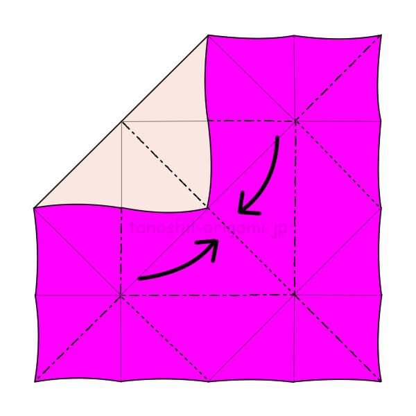 4.折り線に合わせて鳥の形にしていく