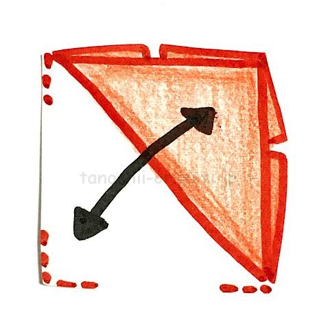 5.斜めに折り線をつける