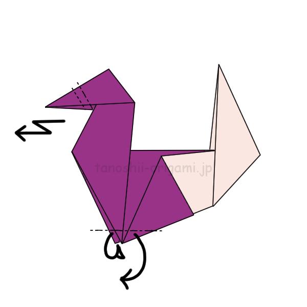 6.くちばしを2回折り、足を内側に折る。