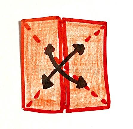 6.もう一度斜めに折り線をつける