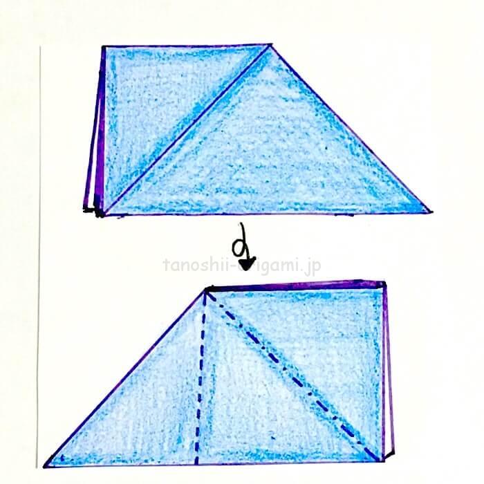 6.折り紙をひっくり返して反対側も同じように折る