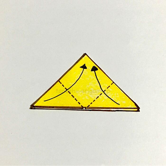 6.角と角を合わせるように折る
