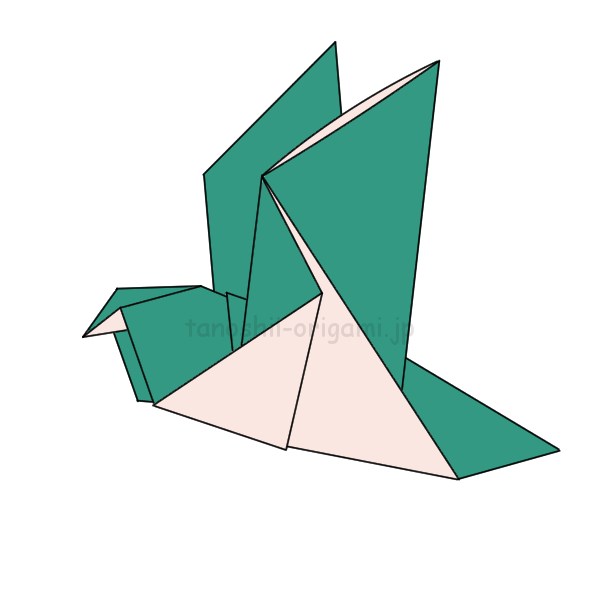 7.折り紙の鳩の完成
