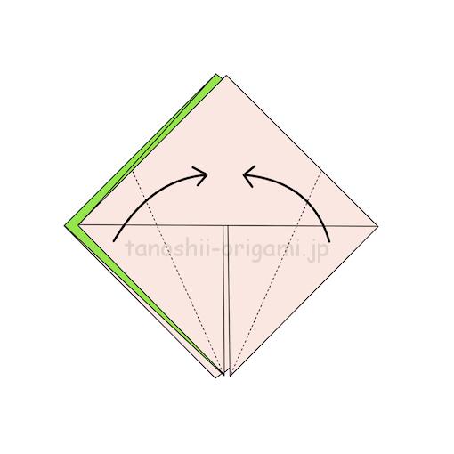 8.両側を真ん中に合わせて折る-3