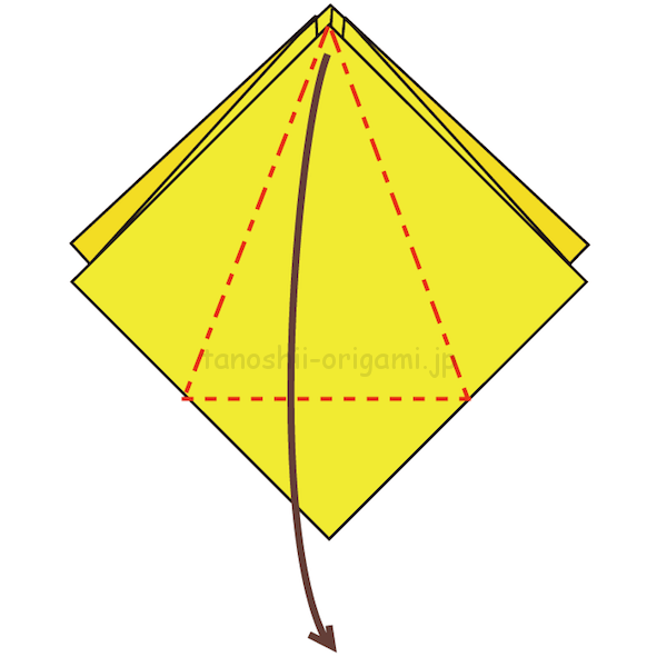 8.折り線に合わせて開く