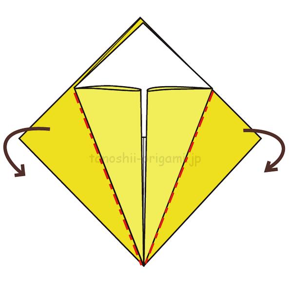 9.反対側も真ん中に合わせて折る