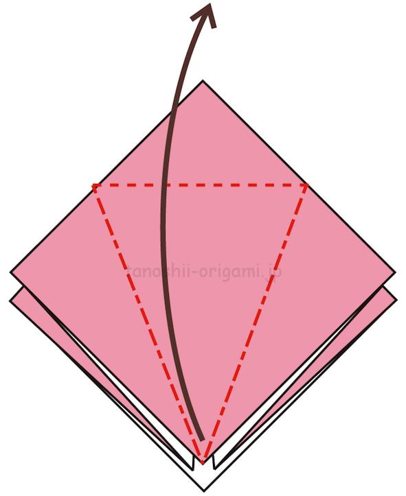9.折り線に合わせて開いて折る