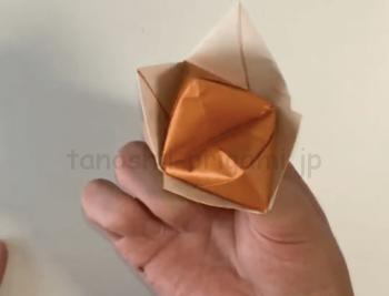 パクパク動く折り紙のきつねの折り方