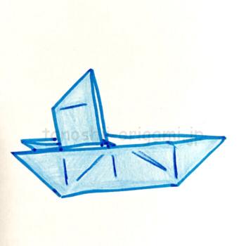 折り紙のほかけふねの完成