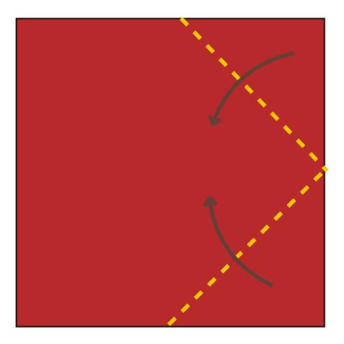 1.折り紙の2つの角を真ん中に合わせて折る。