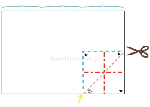 1.長方形の紙の横1-3、縦1-2の大きさに切り込みを入れる