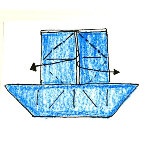 10.反対側も同じように広げてつぶすように折る