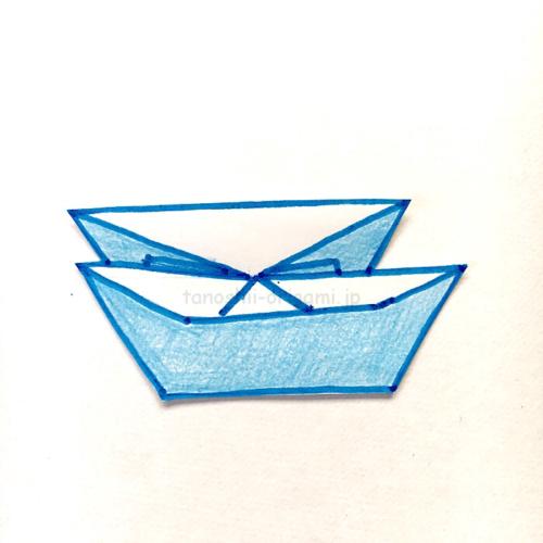 10.折り紙のにそうふねの完成