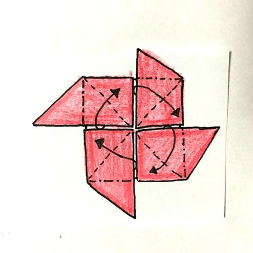 10.羽1枚ずつを反対側に折って折り線をつける