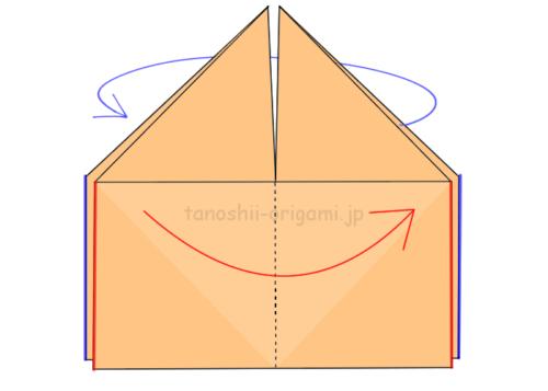 10.赤い線と青い線を重ねるように折る
