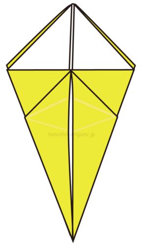 11.こうなります。他の3ヶ所も同じように折る