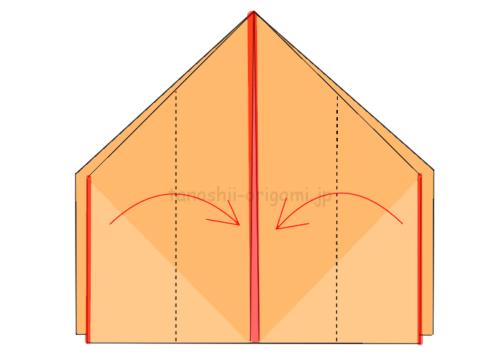 11.両端から半分のところで真ん中に合わせて折る