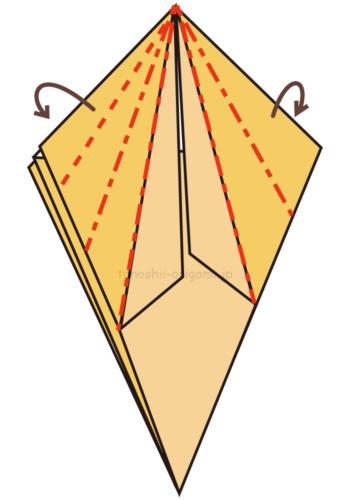 11.左は4等分に折り、右は3等分に折る